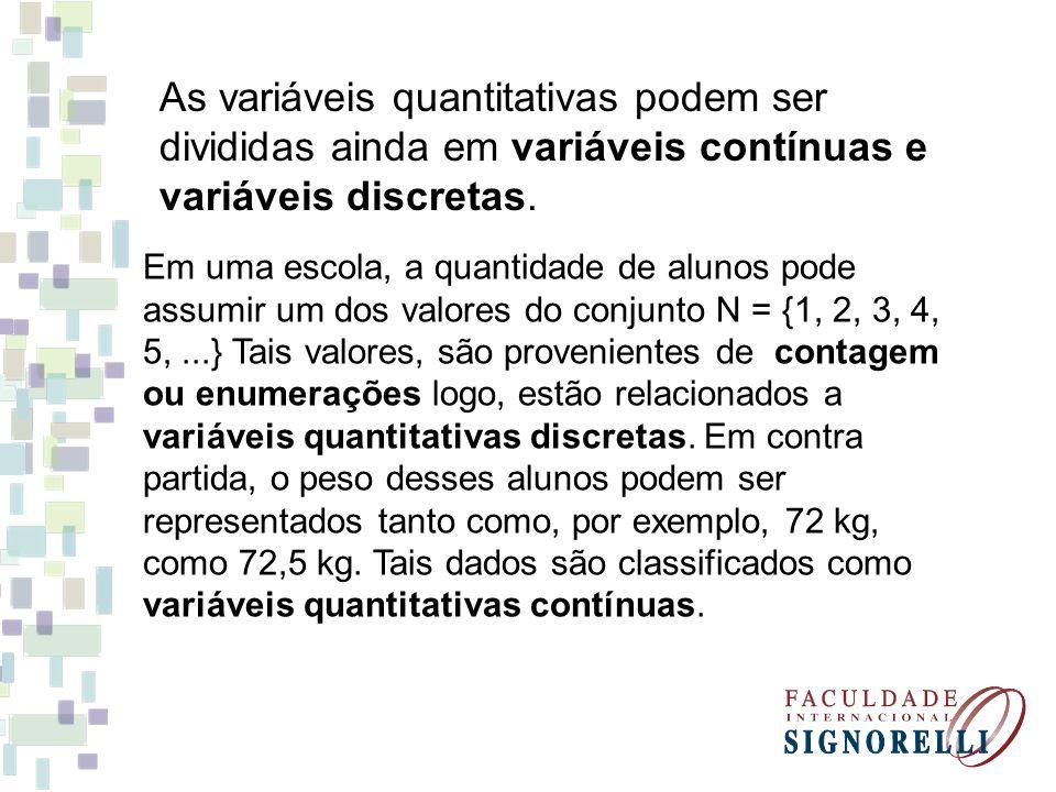 EXERCÍCIO - Classifique as variáveis em qualitativas ou quantitativas (contínuas ou discretas): Cor dos olhos dos alunos qualitativa.