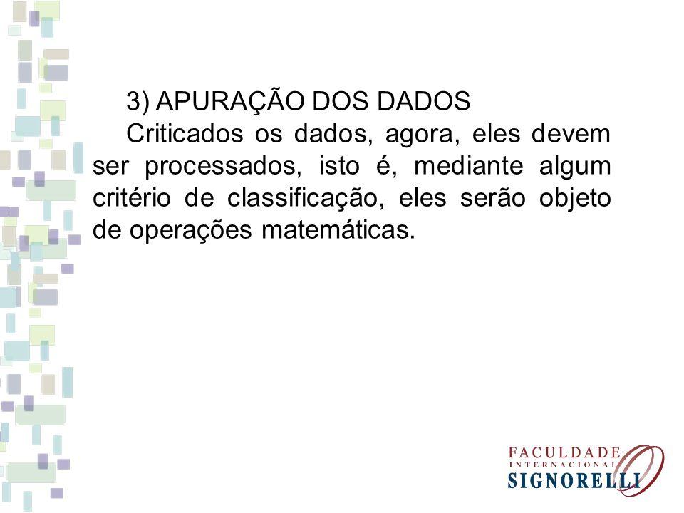4) Exposição ou apresentação dos dados.