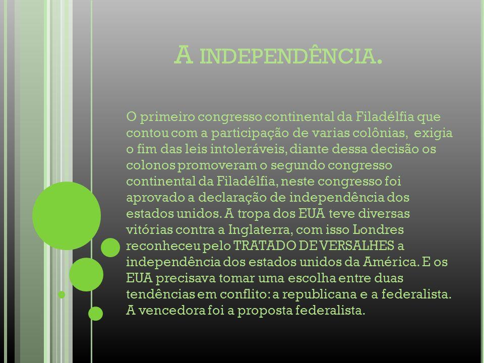 A INDEPENDÊNCIA. O primeiro congresso continental da Filadélfia que contou com a participação de varias colônias, exigia o fim das leis intoleráveis,