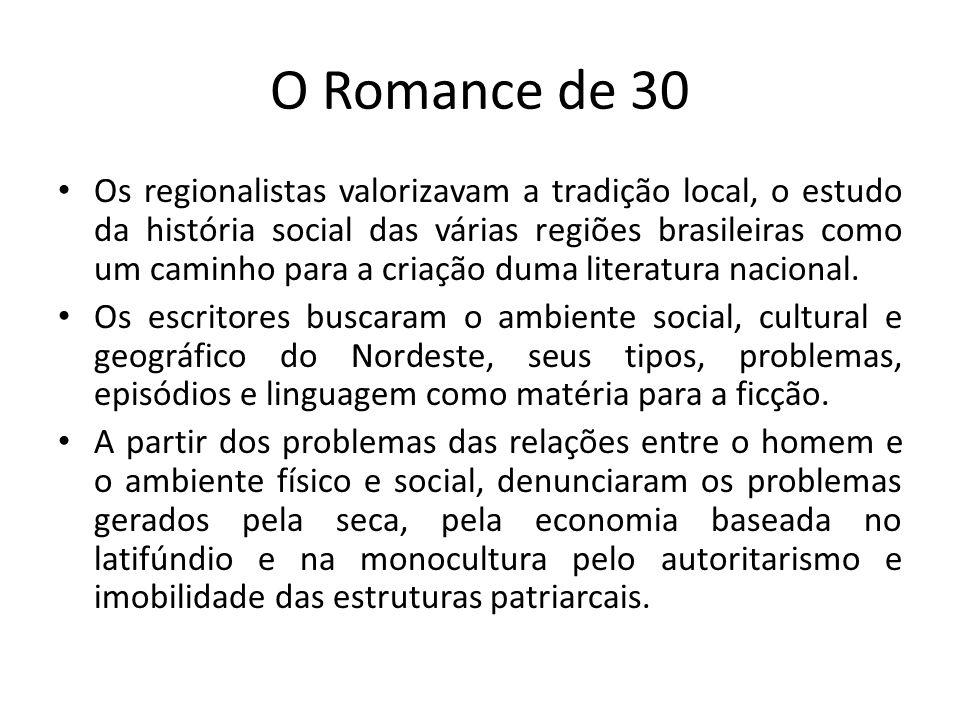 O Romance de 30 Os regionalistas valorizavam a tradição local, o estudo da história social das várias regiões brasileiras como um caminho para a criaç