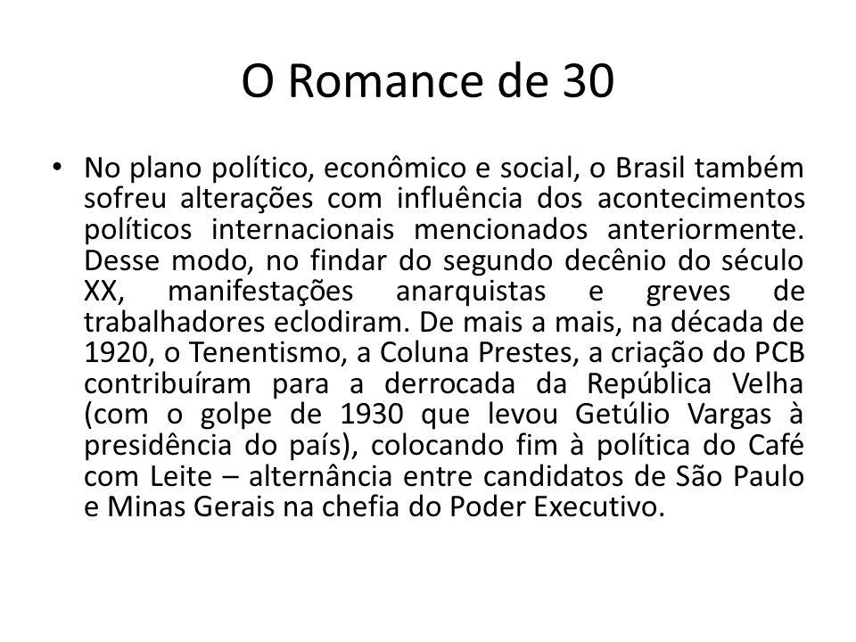 O Romance de 30 No plano político, econômico e social, o Brasil também sofreu alterações com influência dos acontecimentos políticos internacio