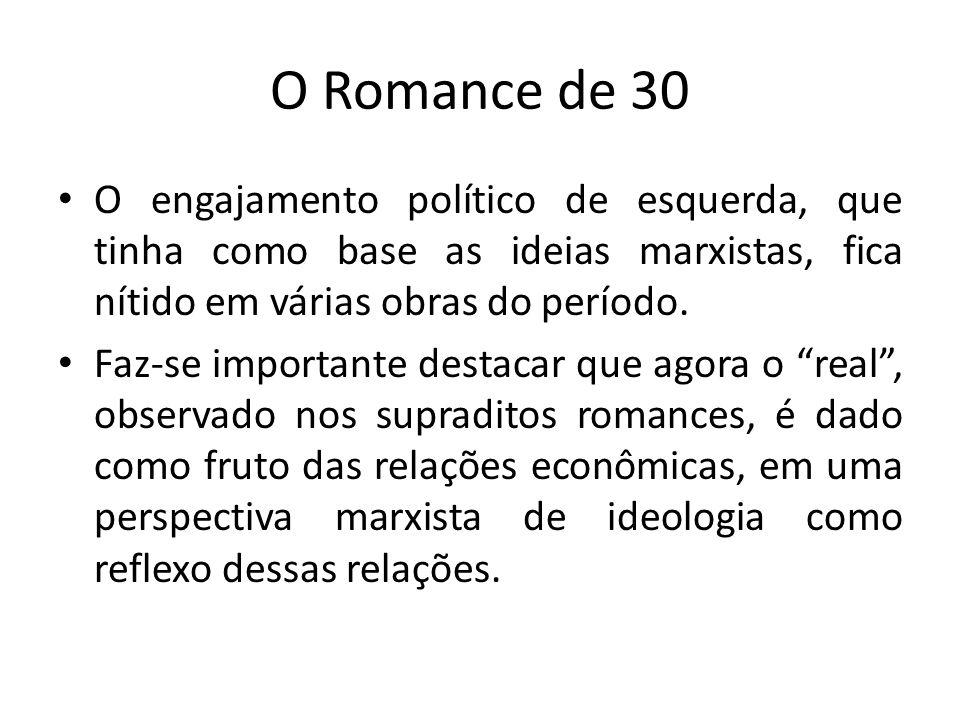 O Romance de 30 O engajamento político de esquerda, que tinha como base as ideias marxistas, fica nítido em várias obras do período. Faz-se import