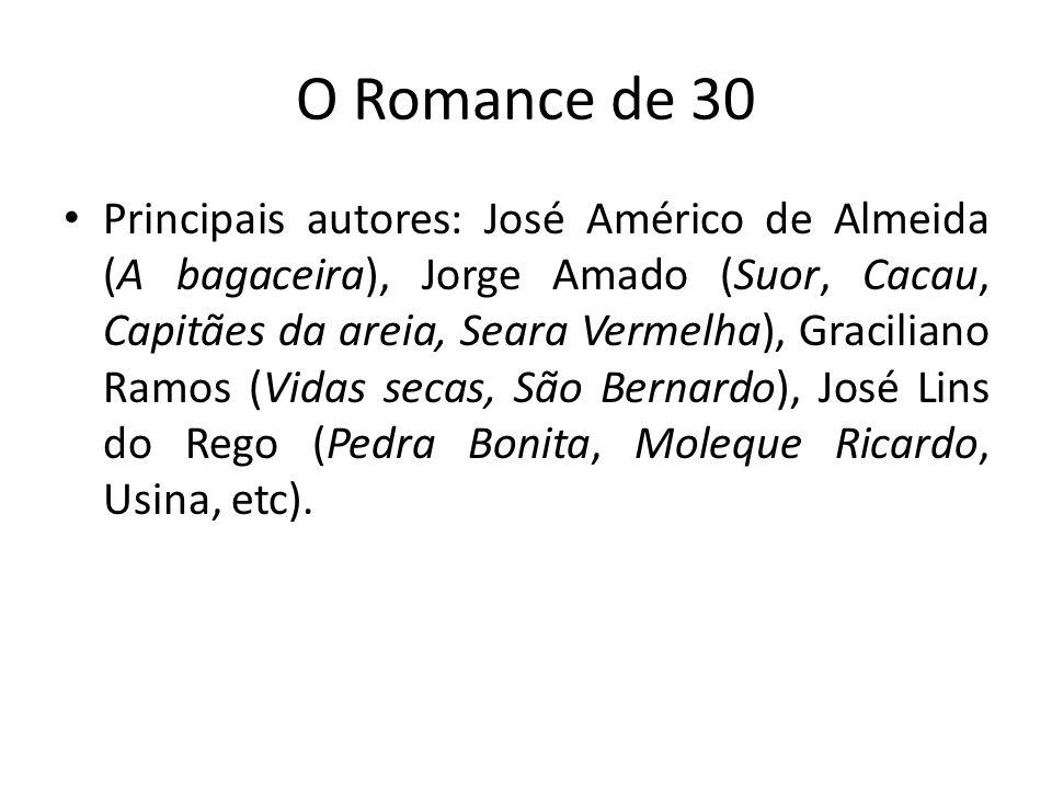 O Romance de 30 Principais autores: José Américo de Almeida (A bagaceira), Jorge Amado (Suor, Cacau, Capitães da areia, Seara Vermelha), Graciliano Ra
