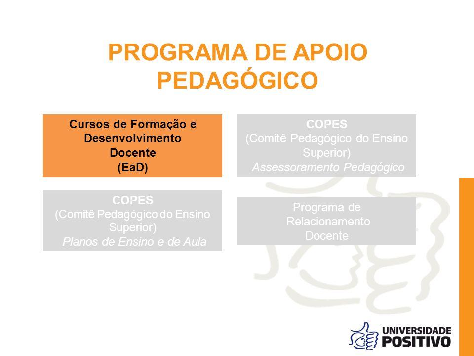 PROGRAMA DE APOIO PEDAGÓGICO Cursos de Formação e Desenvolvimento Docente (EaD) COPES (Comitê Pedagógico do Ensino Superior) Assessoramento Pedagógico