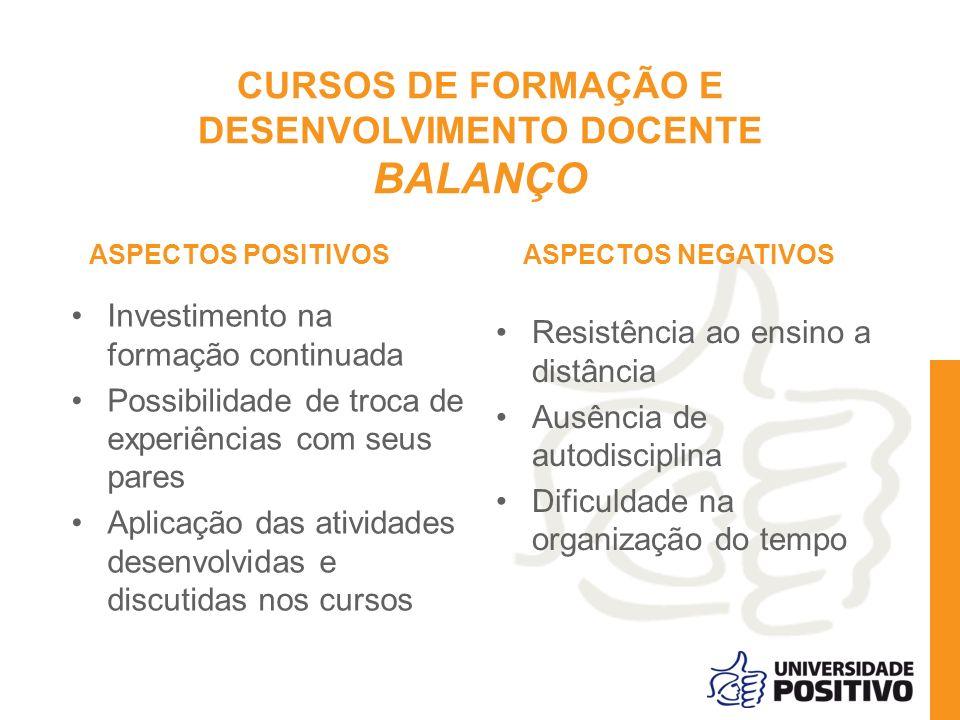 CURSOS DE FORMAÇÃO E DESENVOLVIMENTO DOCENTE BALANÇO ASPECTOS POSITIVOS Investimento na formação continuada Possibilidade de troca de experiências com