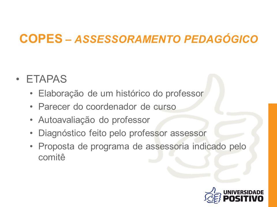 COPES – ASSESSORAMENTO PEDAGÓGICO ETAPAS Elaboração de um histórico do professor Parecer do coordenador de curso Autoavaliação do professor Diagnóstic