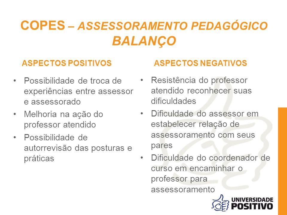 COPES – ASSESSORAMENTO PEDAGÓGICO BALANÇO ASPECTOS POSITIVOS Possibilidade de troca de experiências entre assessor e assessorado Melhoria na ação do p