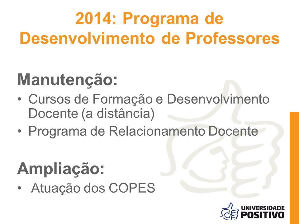 Manutenção: Cursos de Formação e Desenvolvimento Docente (a distância) Programa de Relacionamento Docente Ampliação: Atuação dos COPES