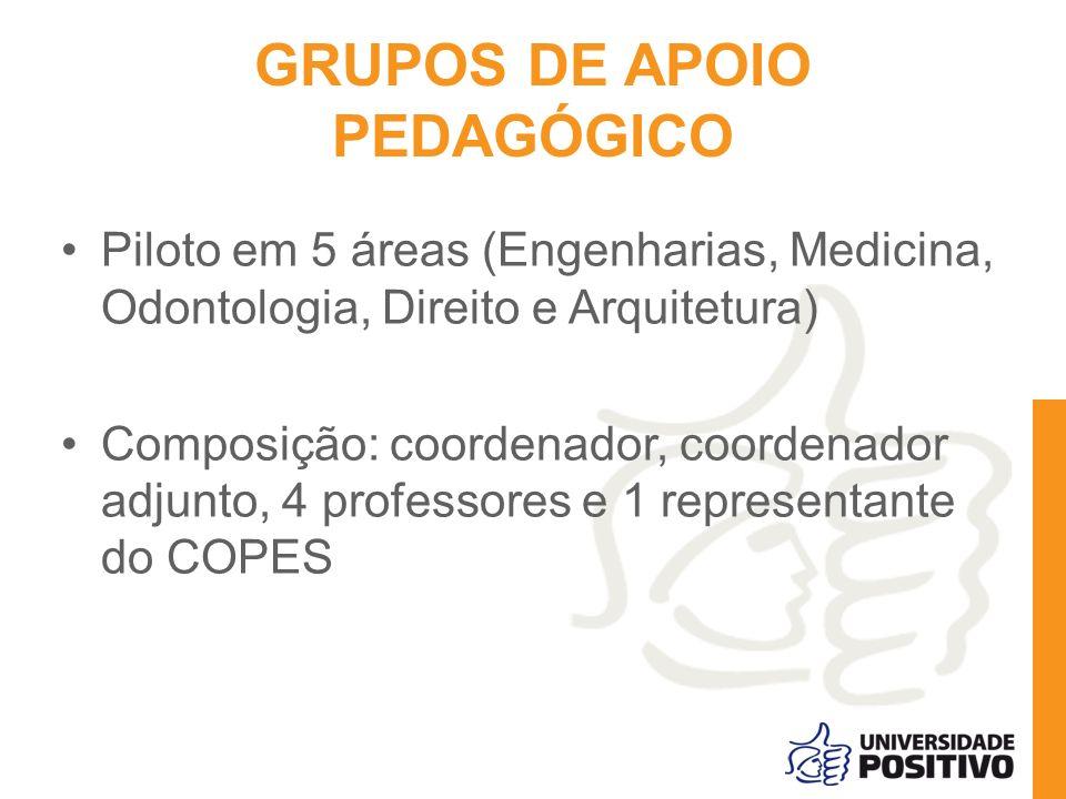 GRUPOS DE APOIO PEDAGÓGICO Piloto em 5 áreas (Engenharias, Medicina, Odontologia, Direito e Arquitetura) Composição: coordenador, coordenador adjunto,