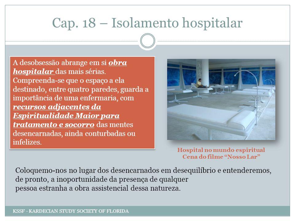 Cap. 18 – Isolamento hospitalar A desobsessão abrange em si obra hospitalar das mais sérias. Compreenda-se que o espaço a ela destinado, entre quatro