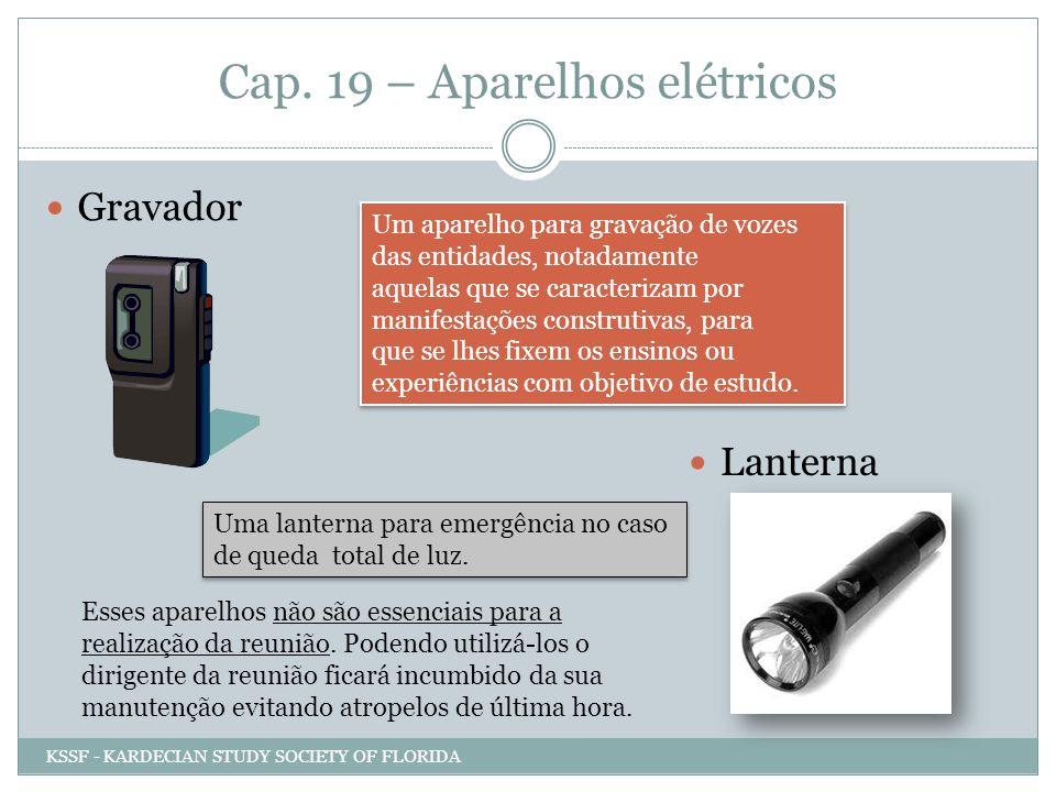 Cap. 19 – Aparelhos elétricos Gravador Um aparelho para gravação de vozes das entidades, notadamente aquelas que se caracterizam por manifestações con