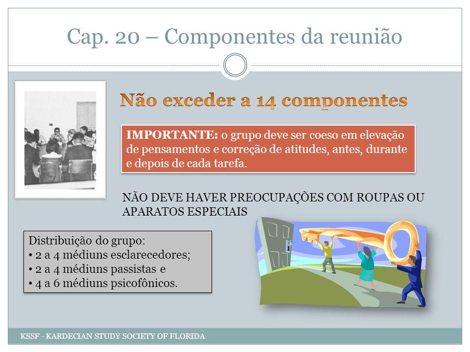 Cap. 20 – Componentes da reunião IMPORTANTE: o grupo deve ser coeso em elevação de pensamentos e correção de atitudes, antes, durante e depois de cada