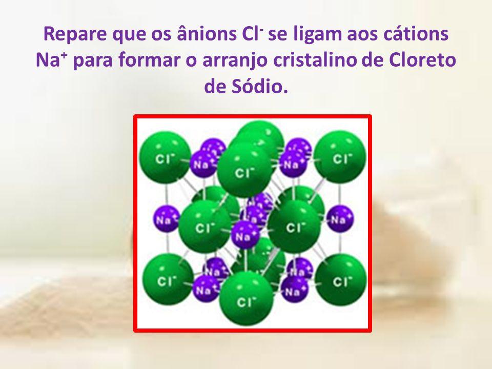 Repare que os ânions Cl - se ligam aos cátions Na + para formar o arranjo cristalino de Cloreto de Sódio.