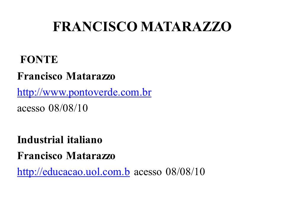 FRANCISCO MATARAZZO FONTE Francisco Matarazzo http://www.pontoverde.com.br acesso 08/08/10 Industrial italiano Francisco Matarazzo http://educacao.uol.com.bhttp://educacao.uol.com.b acesso 08/08/10