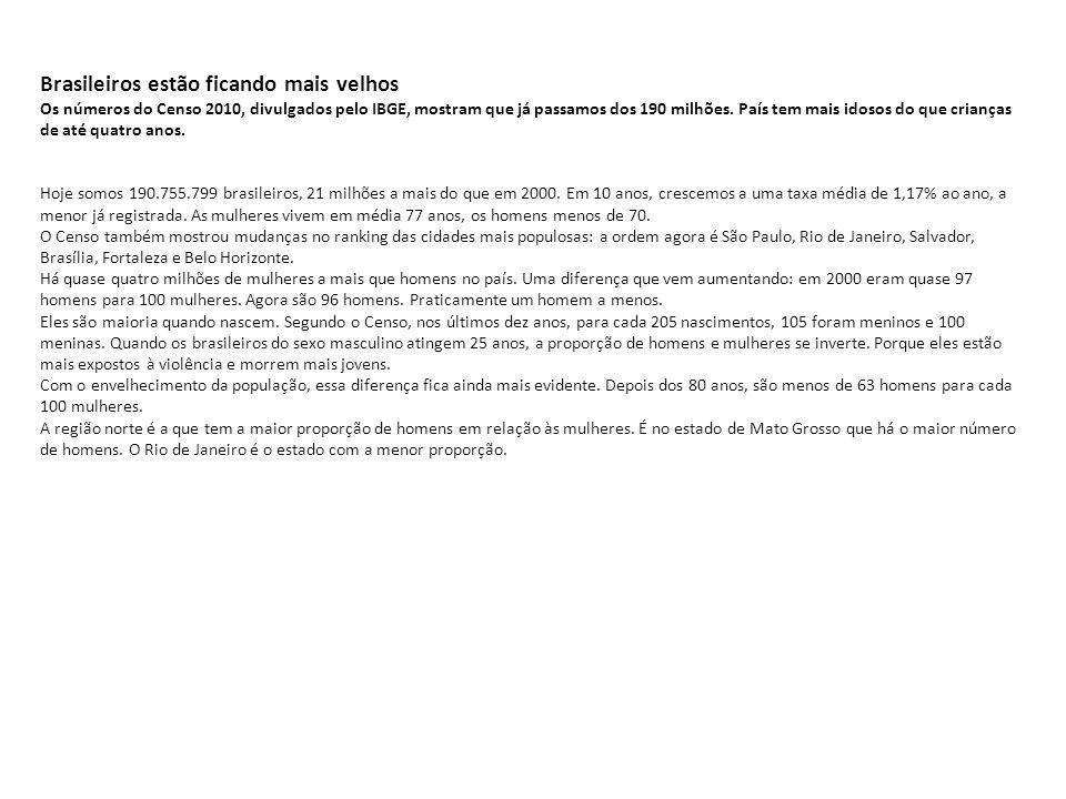 Brasileiros estão ficando mais velhos Os números do Censo 2010, divulgados pelo IBGE, mostram que já passamos dos 190 milhões. País tem mais idosos do