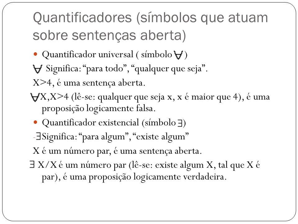 Quantificadores (símbolos que atuam sobre sentenças aberta) Quantificador universal ( símbolo ) - Significa: para todo, qualquer que seja. X>4, é uma