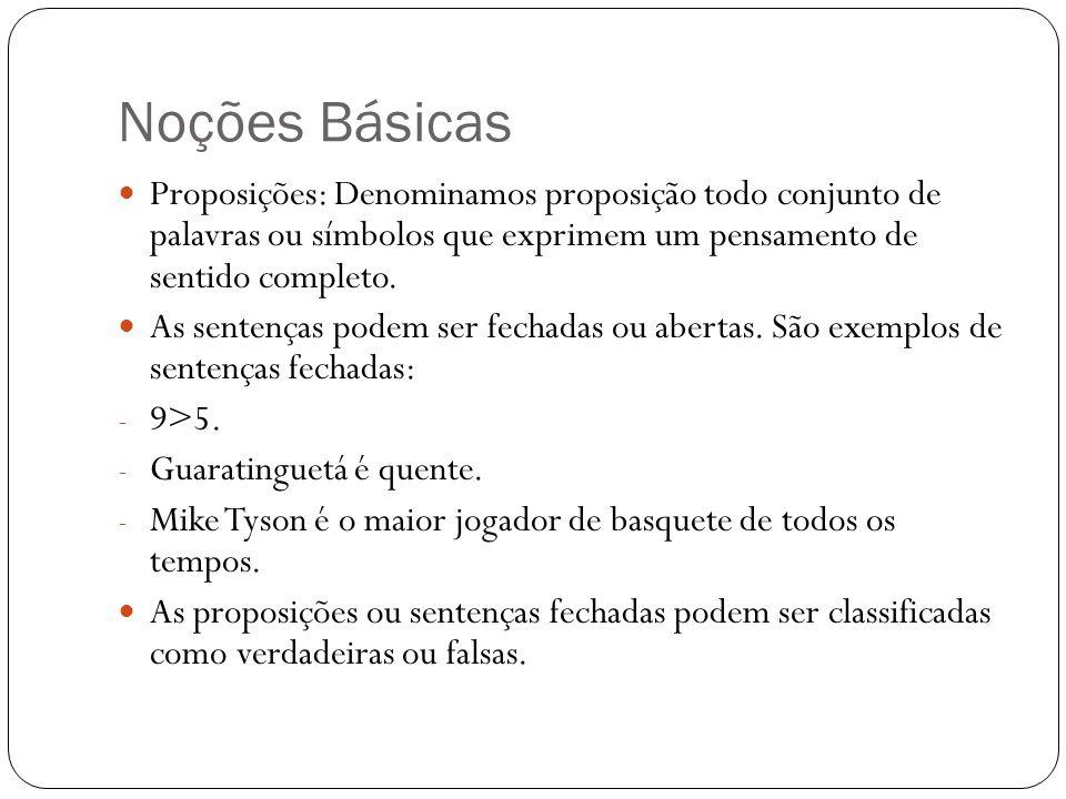 Noções Básicas Proposições: Denominamos proposição todo conjunto de palavras ou símbolos que exprimem um pensamento de sentido completo. As sentenças