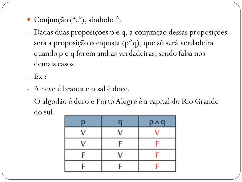 Disjunção (ou), símbolo v: - Dadas as proposições p e q, a disjunção dessas proposições será a proposição composta p ou q (pvq), que será verdadeira, quando pelo menos uma das proposições for verdadeira, e falsa quando ambas forem falsas.