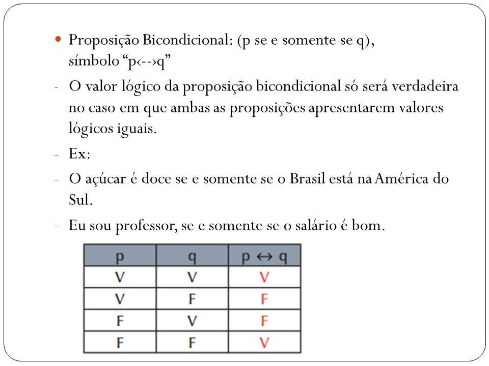 Proposição Bicondicional: (p se e somente se q), símbolo p--q - O valor lógico da proposição bicondicional só será verdadeira no caso em que ambas as