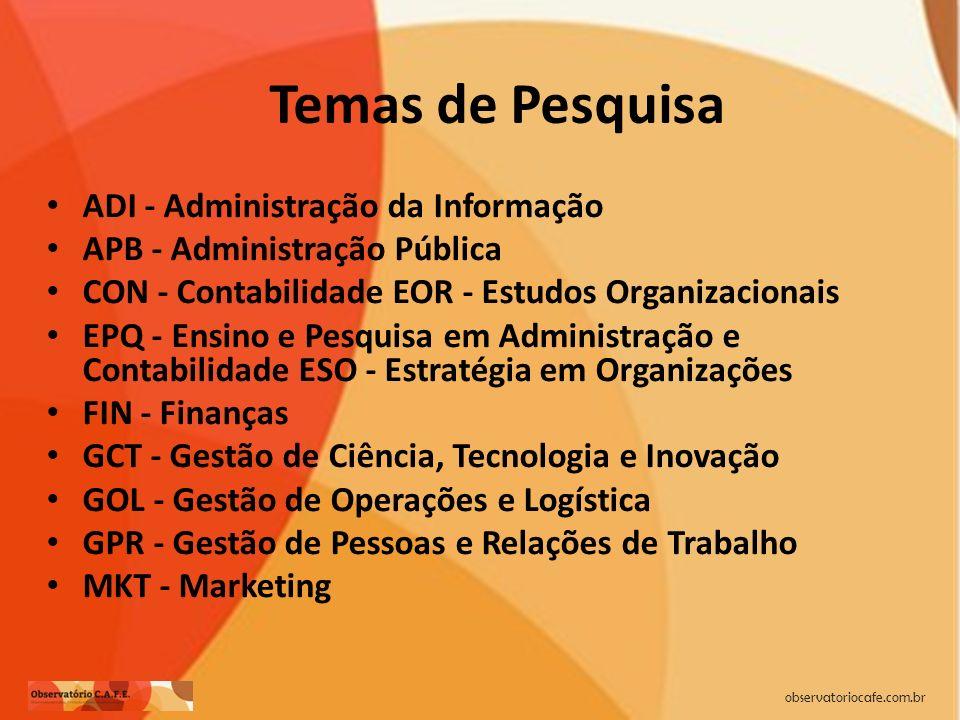 Temas de Pesquisa ADI - Administração da Informação APB - Administração Pública CON - Contabilidade EOR - Estudos Organizacionais EPQ - Ensino e Pesqu