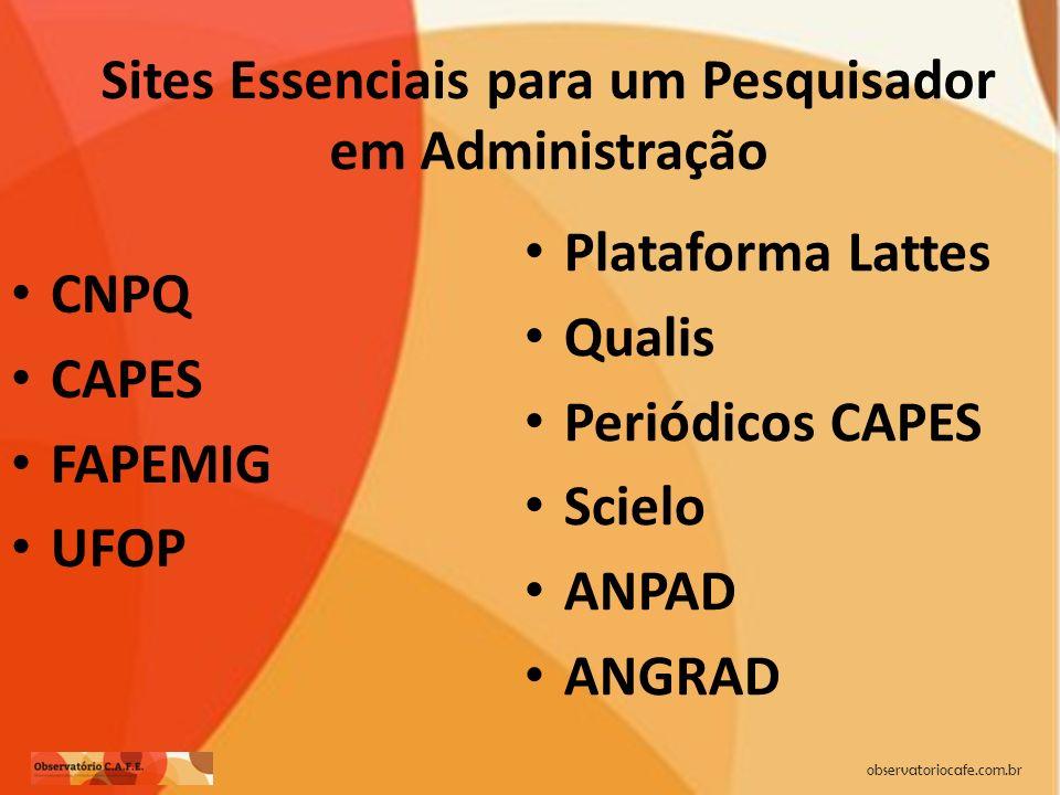 observatoriocafe.com.br Sites Essenciais para um Pesquisador em Administração CNPQ CAPES FAPEMIG UFOP Plataforma Lattes Qualis Periódicos CAPES Scielo