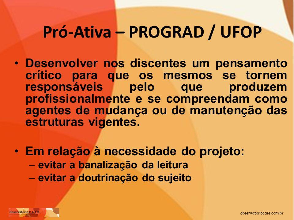 observatoriocafe.com.br Pró-Ativa – PROGRAD / UFOP Desenvolver nos discentes um pensamento crítico para que os mesmos se tornem responsáveis pelo que