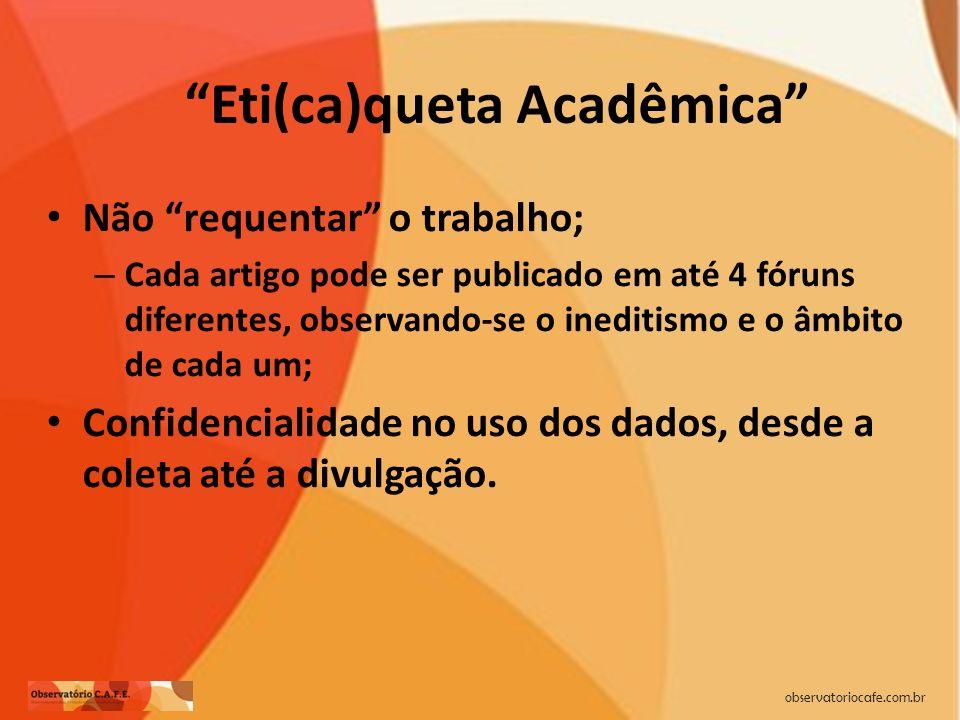 observatoriocafe.com.br Eti(ca)queta Acadêmica Não requentar o trabalho; – Cada artigo pode ser publicado em até 4 fóruns diferentes, observando-se o