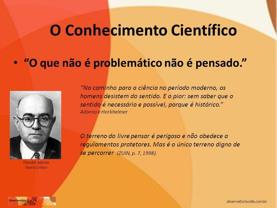 observatoriocafe.com.br O Conhecimento Científico O que não é problemático não é pensado. No caminho para a ciência no período moderno, os homens desi