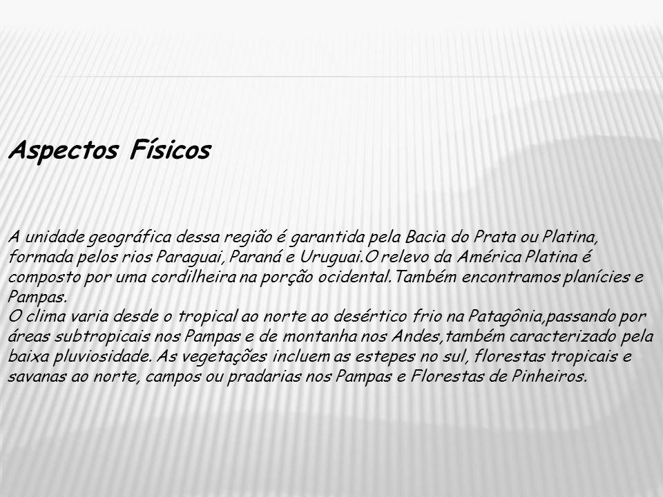 Aspectos Físicos A unidade geográfica dessa região é garantida pela Bacia do Prata ou Platina, formada pelos rios Paraguai, Paraná e Uruguai.O relevo