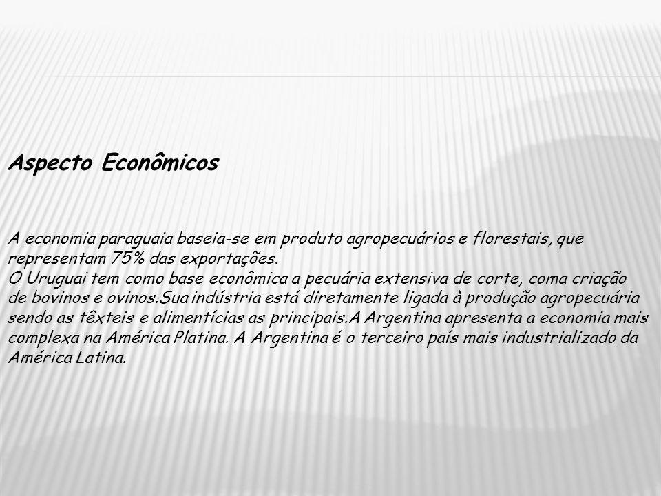 Aspecto Econômicos A economia paraguaia baseia-se em produto agropecuários e florestais, que representam 75% das exportações. O Uruguai tem como base