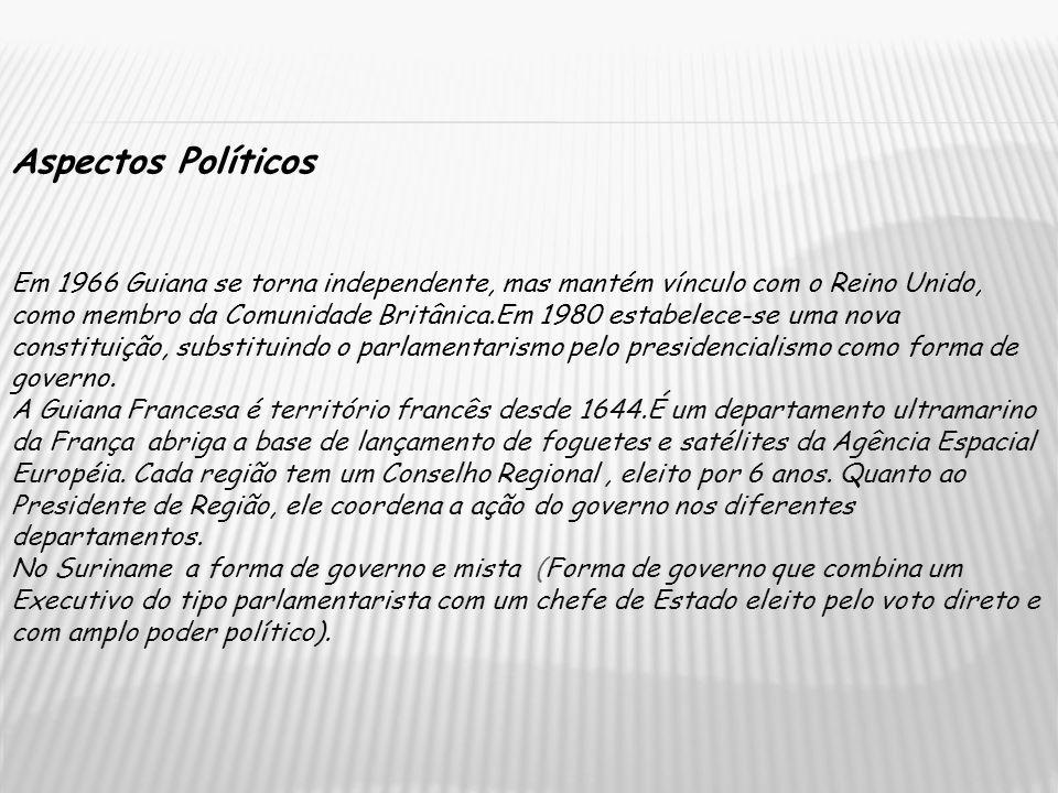 Aspectos Políticos Em 1966 Guiana se torna independente, mas mantém vínculo com o Reino Unido, como membro da Comunidade Britânica.Em 1980 estabelece-