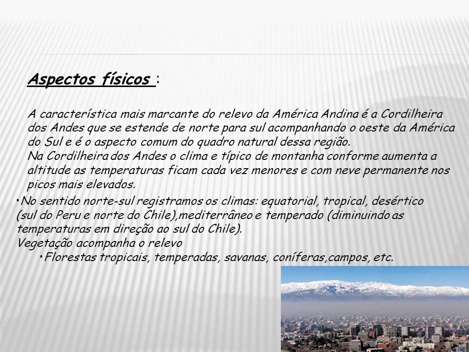 Aspectos físicos : A característica mais marcante do relevo da América Andina é a Cordilheira dos Andes que se estende de norte para sul acompanhando