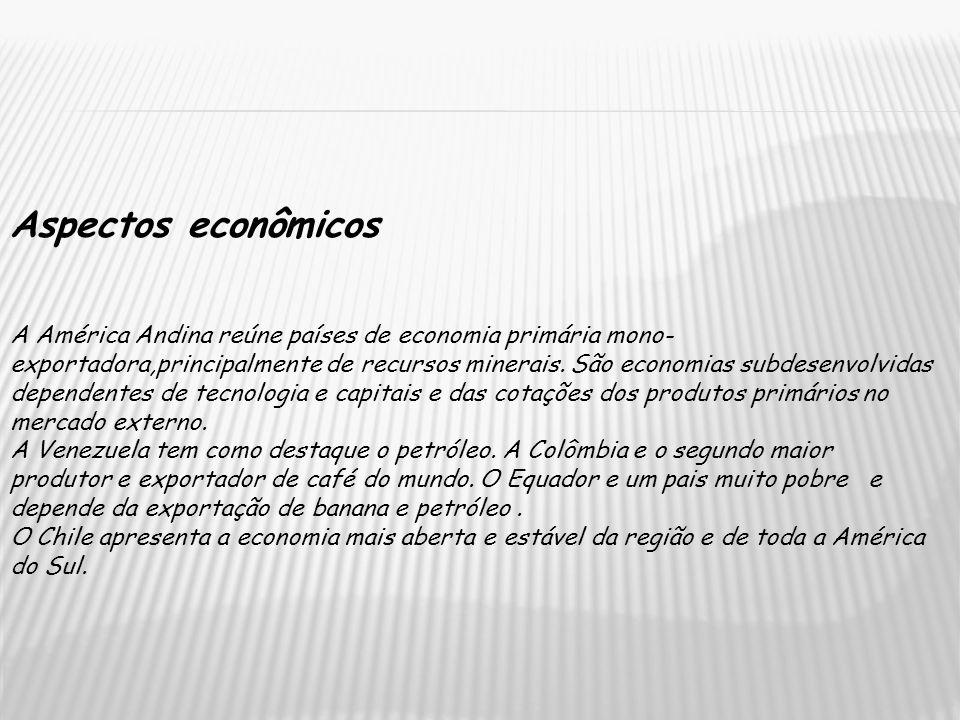 Aspectos econômicos A América Andina reúne países de economia primária mono- exportadora,principalmente de recursos minerais. São economias subdesenvo