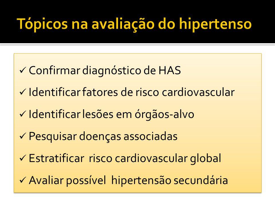 Confirmar diagnóstico de HAS Identificar fatores de risco cardiovascular Identificar lesões em órgãos-alvo Pesquisar doenças associadas Estratificar r
