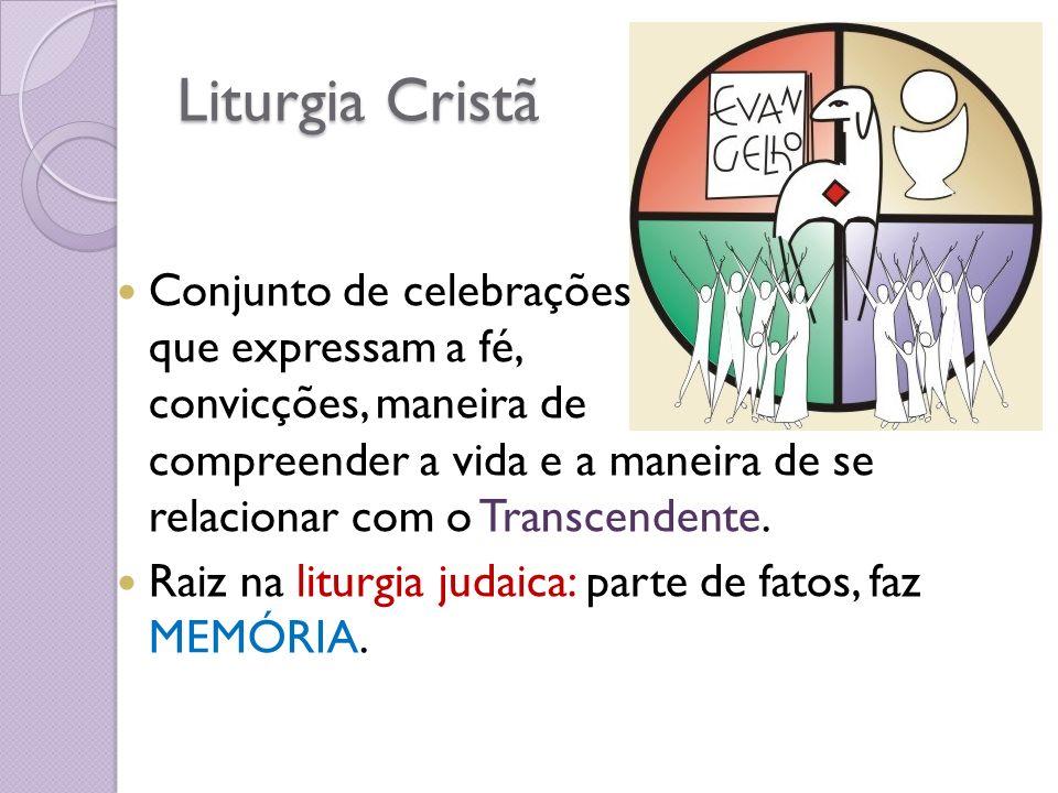 Liturgia Cristã Conjunto de celebrações que expressam a fé, convicções, maneira de compreender a vida e a maneira de se relacionar com o Transcendente.