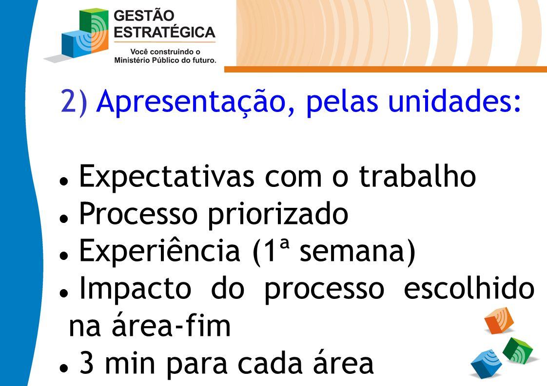 2) Apresentação, pelas unidades: Expectativas com o trabalho Processo priorizado Experiência (1ª semana) Impacto do processo escolhido na área-fim 3 m