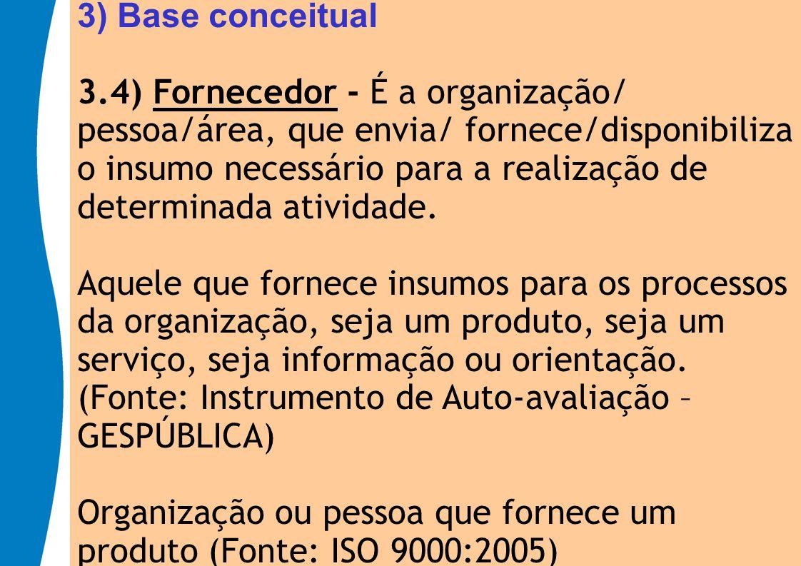 3) Base conceitual 3.4) Fornecedor - É a organização/ pessoa/área, que envia/ fornece/disponibiliza o insumo necessário para a realização de determina