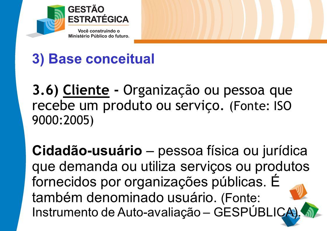 3) Base conceitual 3.6) Cliente - Organização ou pessoa que recebe um produto ou serviço. (Fonte: ISO 9000:2005) Cidadão-usuário – pessoa física ou ju