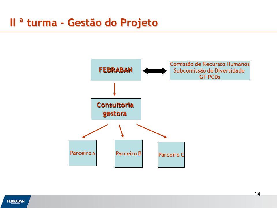 14 II ª turma - Gestão do Projeto FEBRABAN Consultoriagestora Comissão de Recursos Humanos Subcomissão de Diversidade GT PCDs Parceiro B Parceiro A Pa