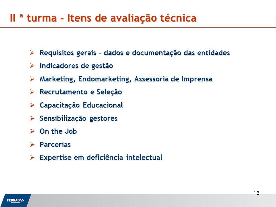 16 Requisitos gerais – dados e documentação das entidades Requisitos gerais – dados e documentação das entidades Indicadores de gestão Indicadores de