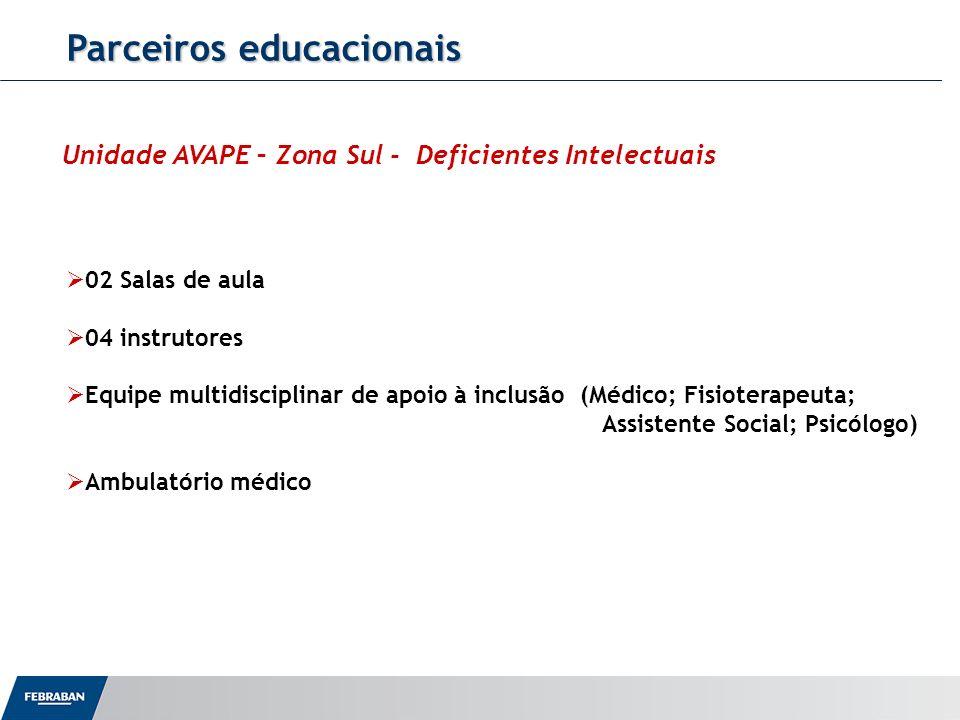 Parceiros educacionais 02 Salas de aula 04 instrutores Equipe multidisciplinar de apoio à inclusão (Médico; Fisioterapeuta; Assistente Social; Psicólo