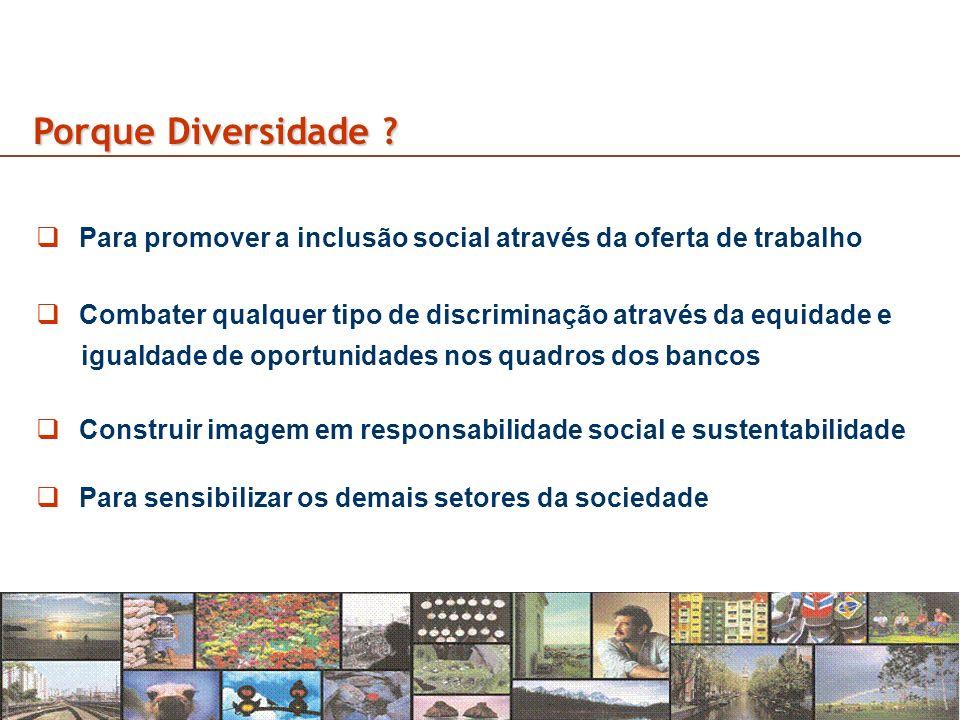 3 Porque Diversidade ? Para promover a inclusão social através da oferta de trabalho Combater qualquer tipo de discriminação através da equidade e igu