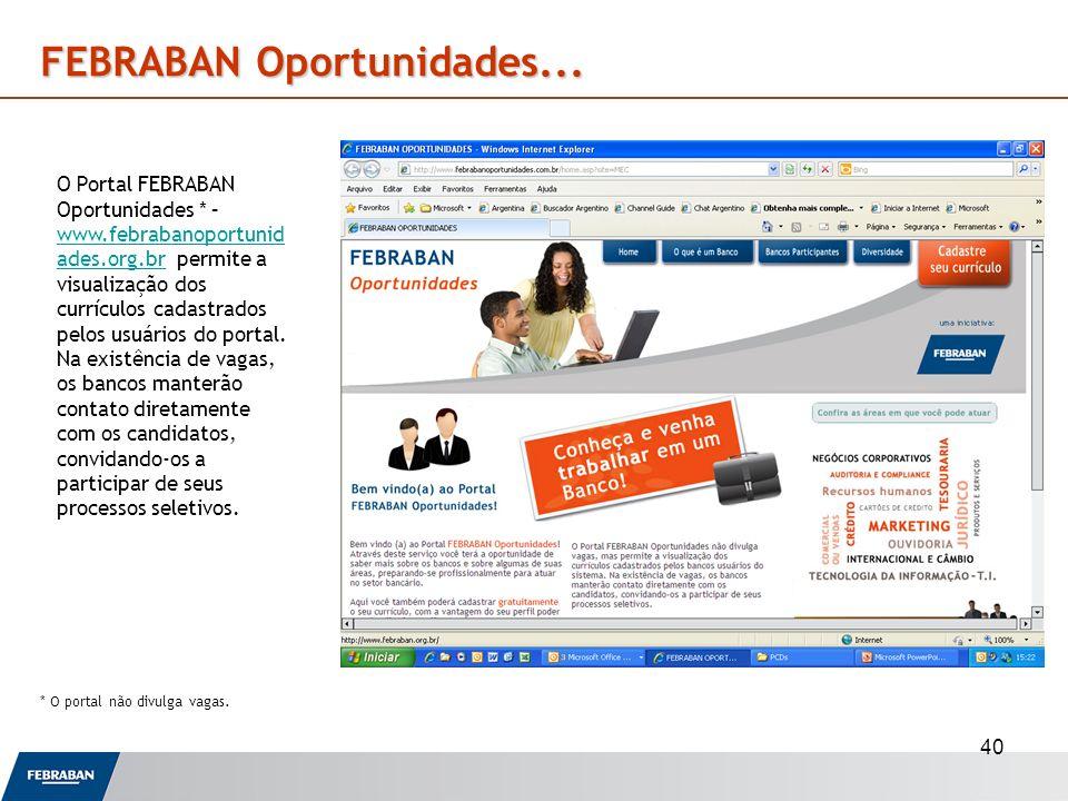 40 FEBRABAN Oportunidades... O Portal FEBRABAN Oportunidades * – www.febrabanoportunid ades.org.br permite a visualização dos currículos cadastrados p