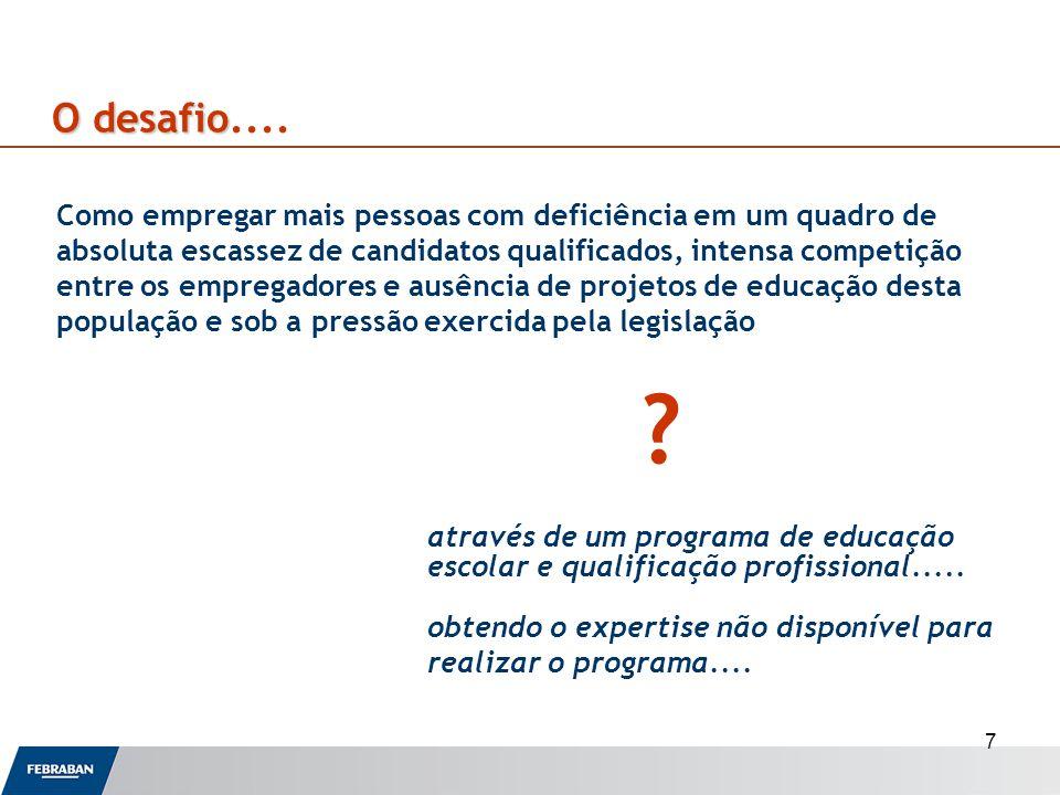 7 Odesafio O desafio.... Como empregar mais pessoas com deficiência em um quadro de absoluta escassez de candidatos qualificados, intensa competição e