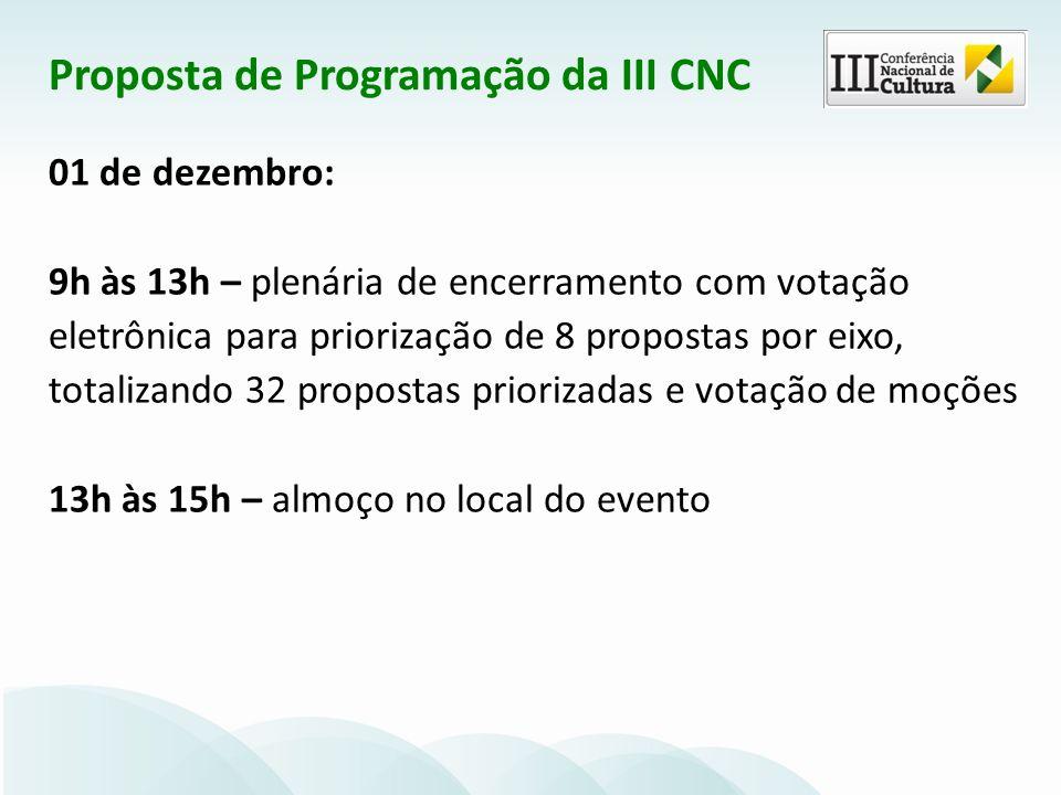 01 de dezembro: 9h às 13h – plenária de encerramento com votação eletrônica para priorização de 8 propostas por eixo, totalizando 32 propostas priorizadas e votação de moções 13h às 15h – almoço no local do evento Proposta de Programação da III CNC