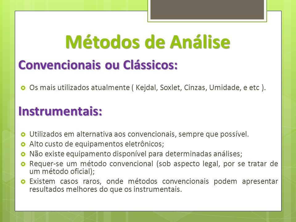 Métodos de Análise Convencionais ou Clássicos: Os mais utilizados atualmente ( Kejdal, Soxlet, Cinzas, Umidade, e etc ).Instrumentais: Utilizados em a