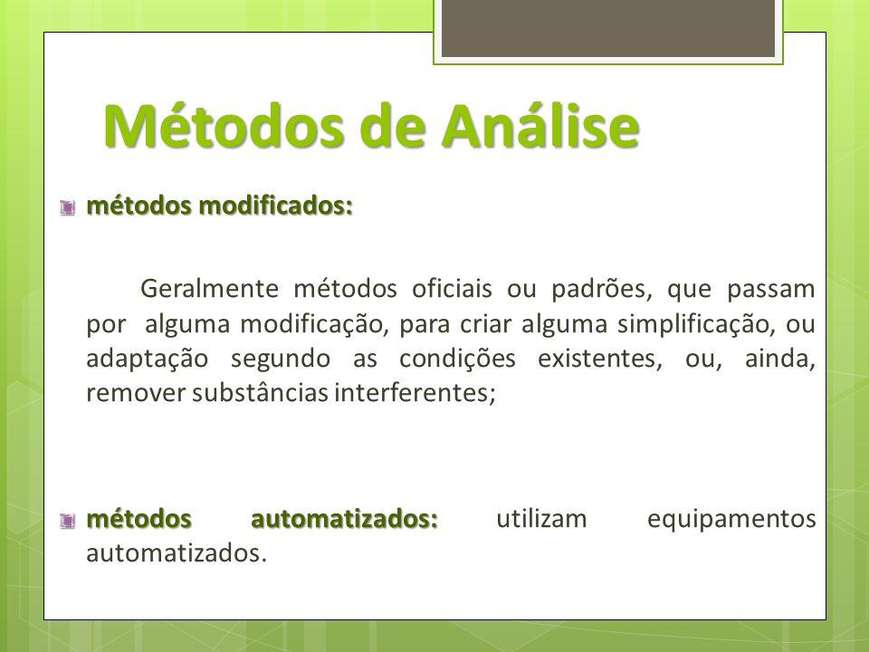 Métodos de Análise métodos modificados: Geralmente métodos oficiais ou padrões, que passam por alguma modificação, para criar alguma simplificação, ou
