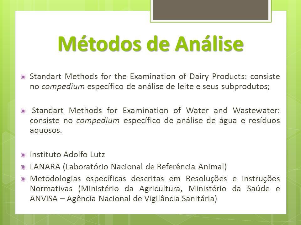 Métodos de Análise Standart Methods for the Examination of Dairy Products: consiste no compedium específico de análise de leite e seus subprodutos; St