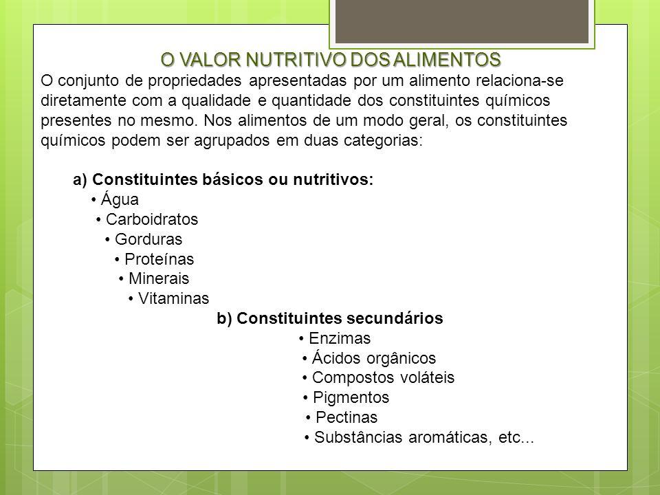 O VALOR NUTRITIVO DOS ALIMENTOS O conjunto de propriedades apresentadas por um alimento relaciona-se diretamente com a qualidade e quantidade dos cons