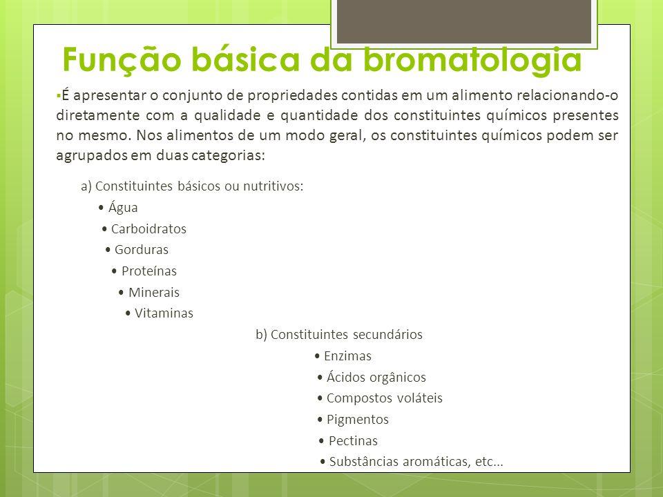 Função básica da bromatologia É apresentar o conjunto de propriedades contidas em um alimento relacionando-o diretamente com a qualidade e quantidade